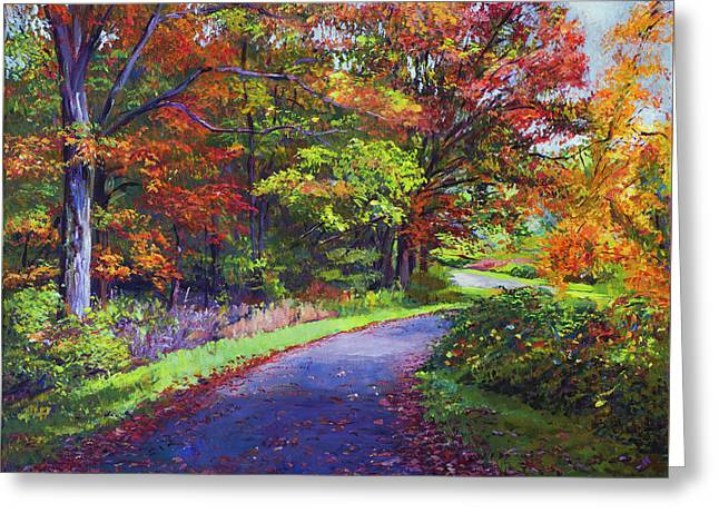 Autumn Leaf Road Greeting Card