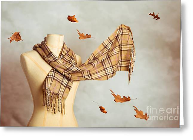Autumn Scarf Greeting Card by Amanda Elwell