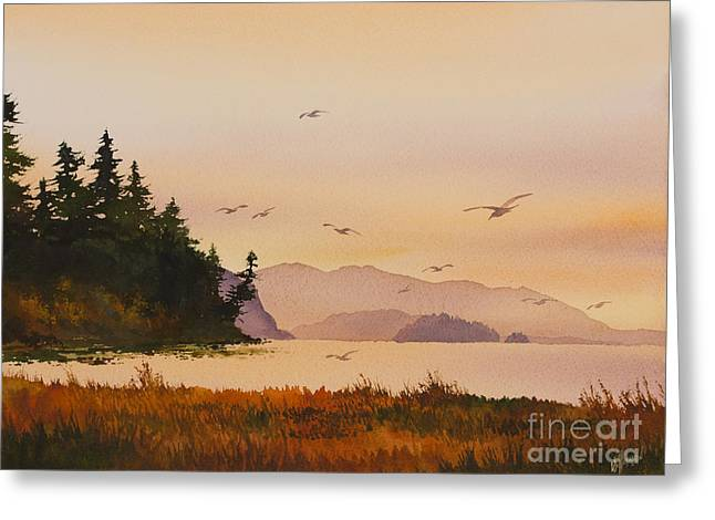 Greeting Card featuring the painting Autumn Shore by James Williamson