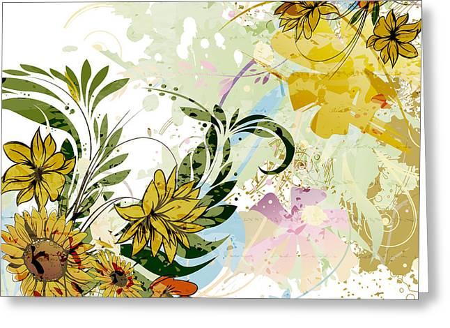Autumn Sunflower Digital Illustration Greeting Card by Heinz G Mielke