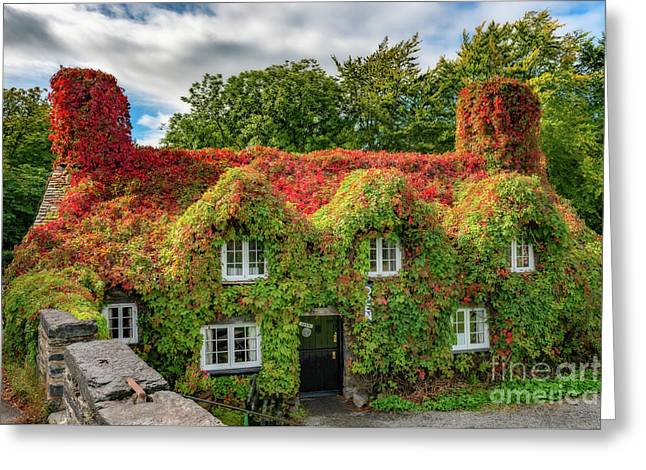 Autumn Tea House Greeting Card