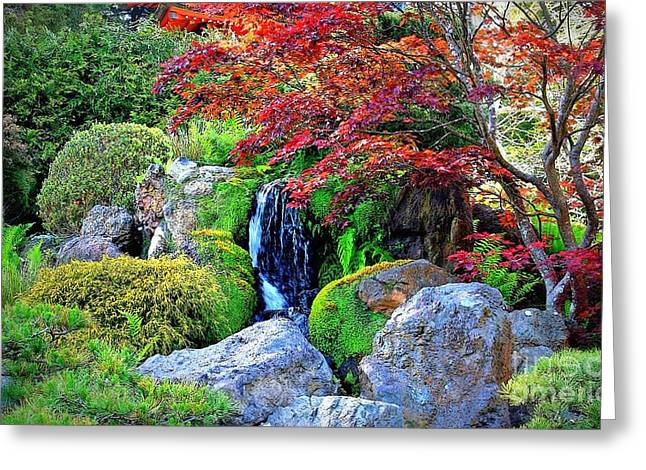 Autumn Waterfall - Digital Art 5x3 Greeting Card by Carol Groenen