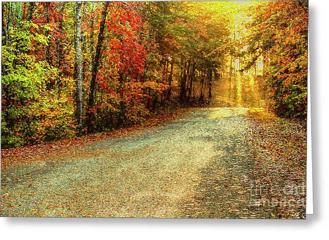 Autumns Path Greeting Card by Darren Fisher