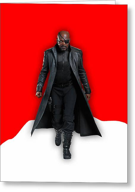 Avengers Nick Fury Collection Greeting Card by Marvin Blaine