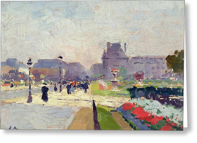 Avenue Paul Deroulede Greeting Card by Jules Ernest Renoux