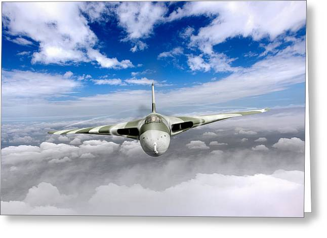 Avro Vulcan Head On Above Clouds Greeting Card by Gary Eason