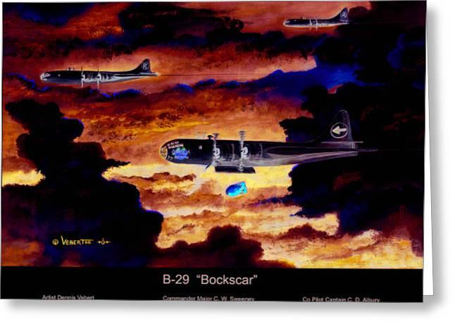 B-29 Bockscar Greeting Card by Dennis Vebert