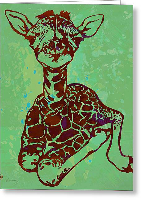 Baby Giraffe - Pop Modern Etching Art Poster Greeting Card