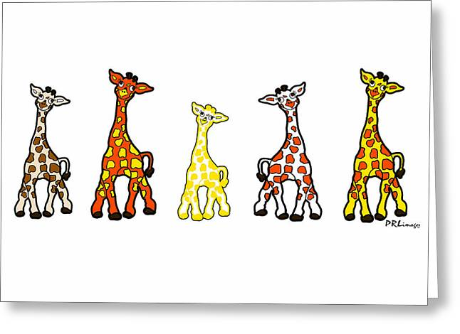 Baby Giraffes In A Row Greeting Card