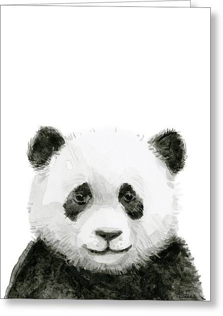 Baby Panda Watercolor Greeting Card by Olga Shvartsur