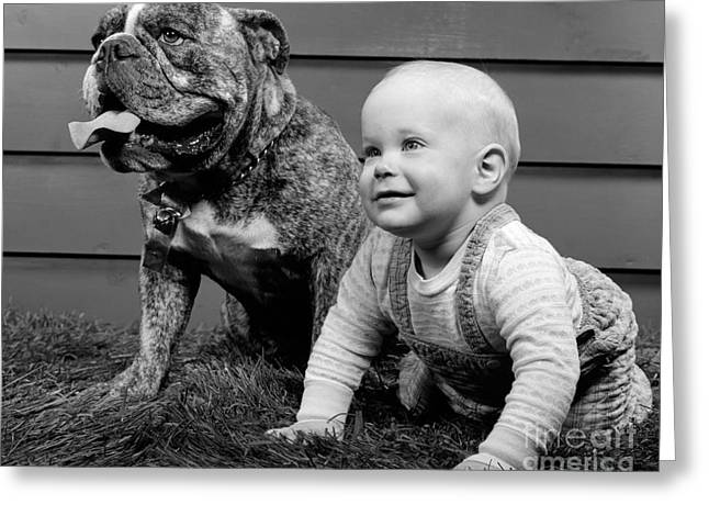 Baby With Bulldog, C.1950-60s Greeting Card by H. Armstrong Roberts/ClassicStock