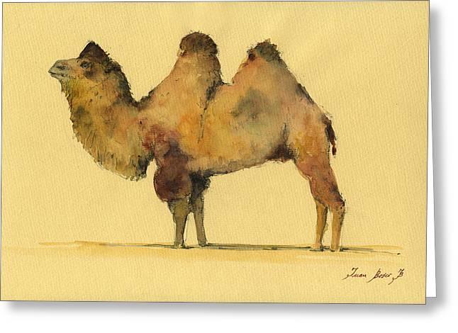 Bactrian Camel Greeting Card by Juan  Bosco