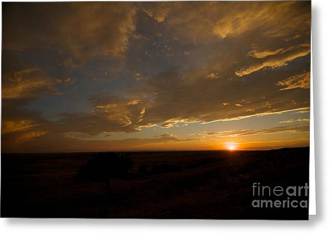 Badlands Sunset Greeting Card by Chris Brewington Photography LLC