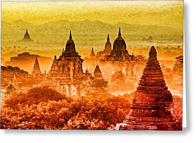 Bagan Pagodas Greeting Card by Dennis Cox WorldViews