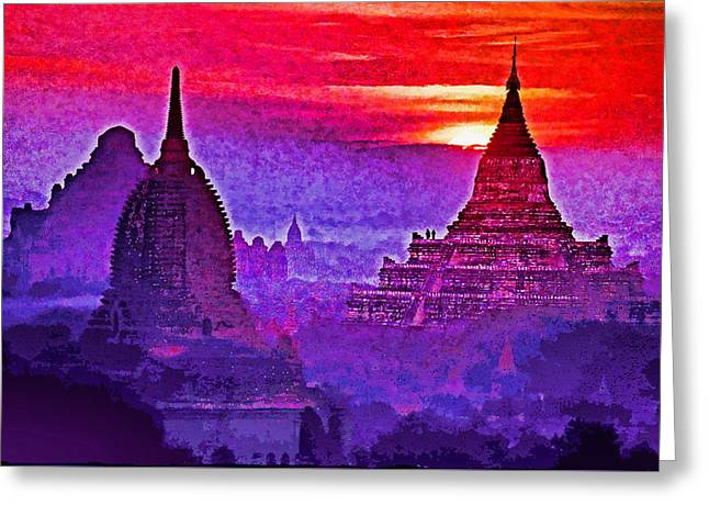 Bagan Sunrise Greeting Card by Dennis Cox WorldViews