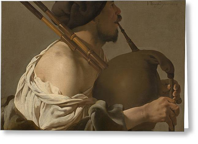 Bagpipe Player Greeting Card by Hendrick Ter Brugghen
