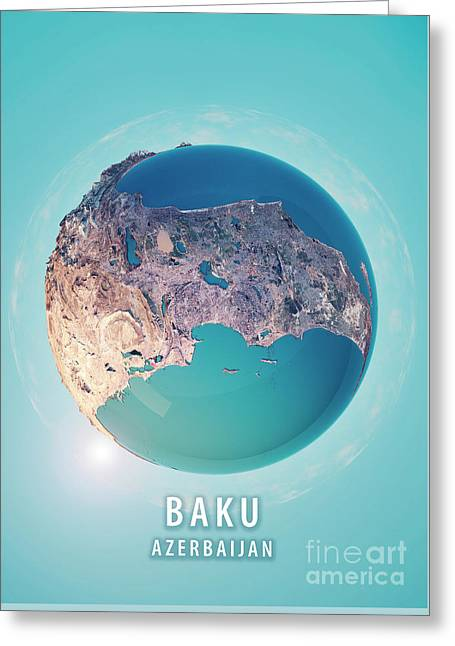 Baku 3d Little Planet 360-degree Sphere Panorama Greeting Card