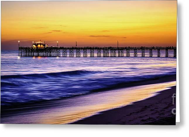 Balboa Pier At Sunset In Newport Beach California Greeting Card
