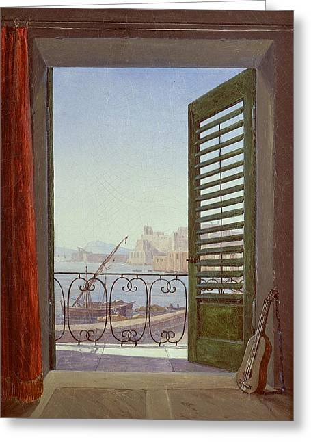 Balcony Room With A View Of The Bay Of Naples Greeting Card by MotionAge Designs