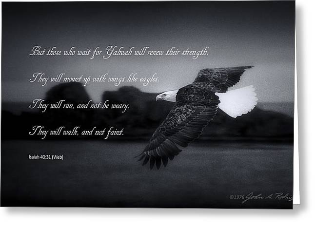 Greeting Card featuring the photograph Bald Eagle In Flight With Bible Verse by John A Rodriguez