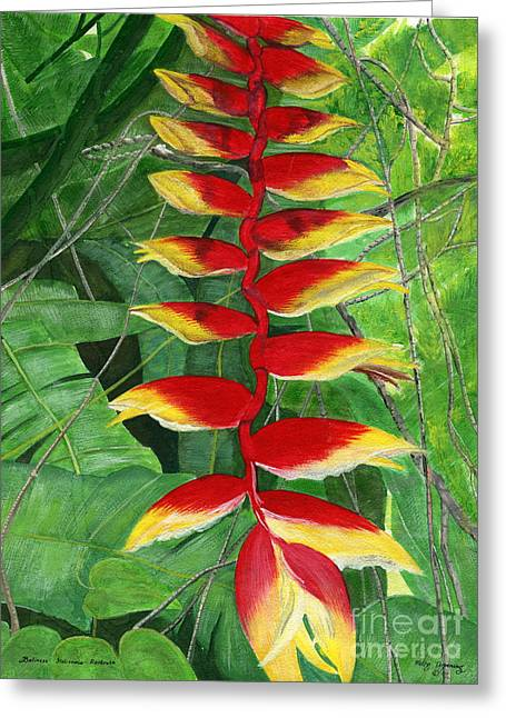 Greeting Card featuring the painting Balinese Heliconia Rostrata by Melly Terpening