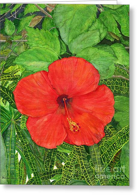 Greeting Card featuring the painting Balinese Hibiscus Rosa by Melly Terpening
