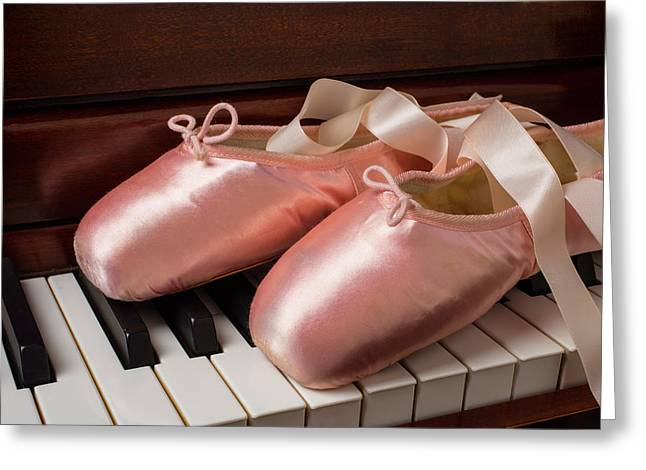 Ballet Shoes On Piano Keys Greeting Card