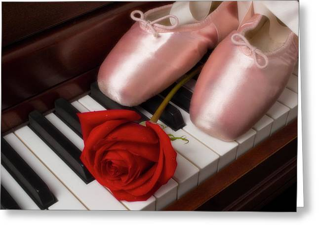 Ballet Shoes With Red Rose Greeting Card
