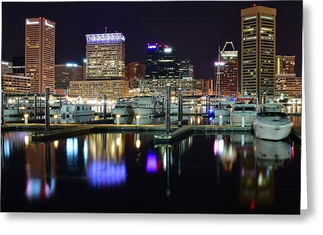 Baltimore Harbor Lights Greeting Card by Frozen in Time Fine Art Photography