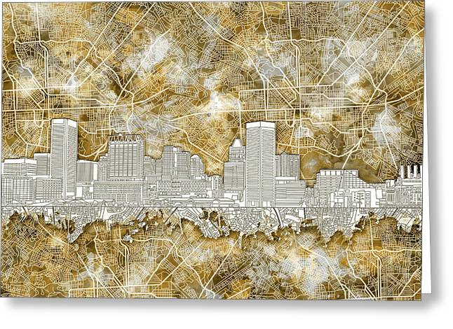 Greeting Card featuring the painting Baltimore Skyline Watercolor 13 by Bekim Art