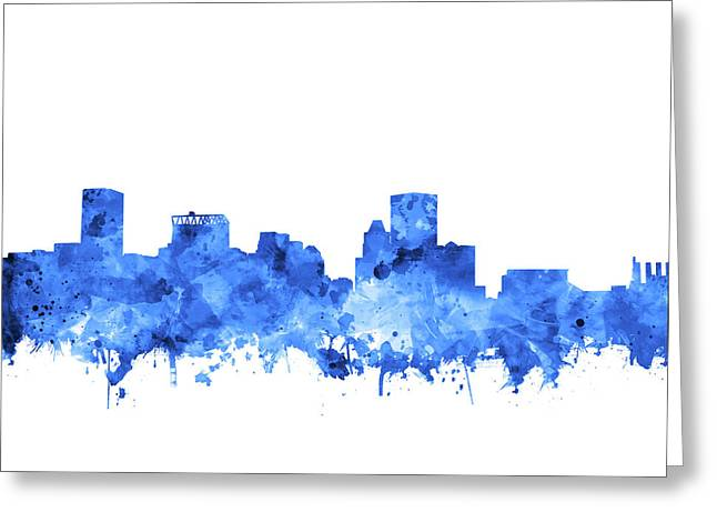 Greeting Card featuring the painting Baltimore Skyline Watercolor 7 by Bekim Art