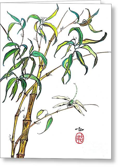 Bamboo And Dragonfly Greeting Card by Irina Davis