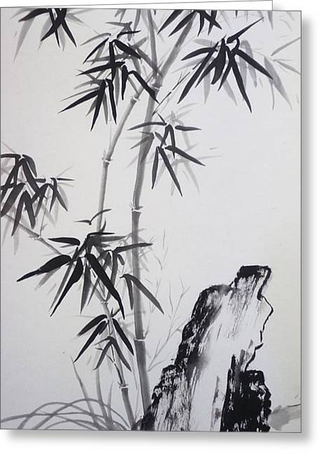 Bamboo With Stone Greeting Card