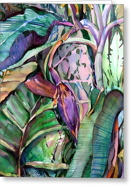 Florida Flowers Mixed Media Greeting Cards - Banana Pod Greeting Card by Mindy Newman