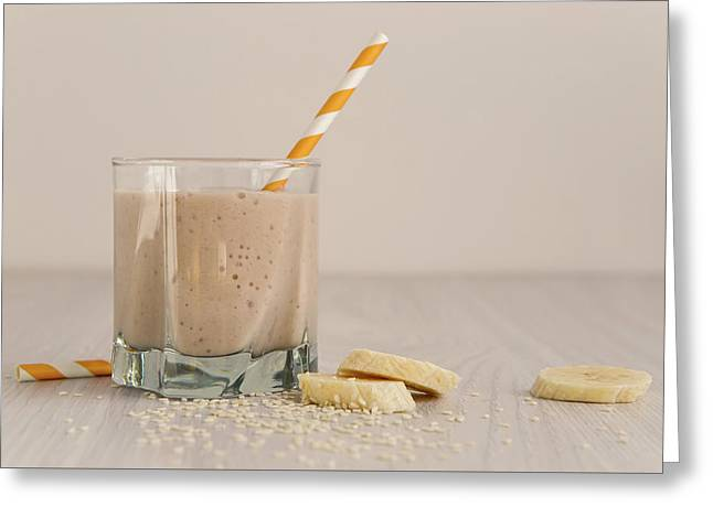 Banana Smoothie In A Glass Greeting Card