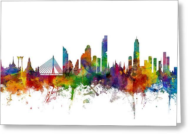 Bangkok Thailand Skyline Greeting Card by Michael Tompsett