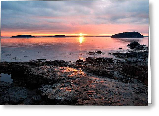 Bar Harbor Sunrise Greeting Card by Stephen  Vecchiotti