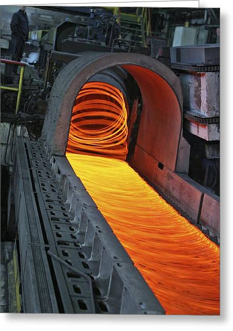 Hard Hat Greeting Cards - Bar-rolling Mill Processing Molten Metal Greeting Card by Ria Novosti