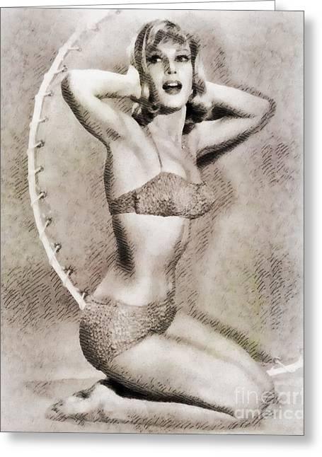 Barbara Eden, Vintage Hollywood Actress Greeting Card by John Springfield