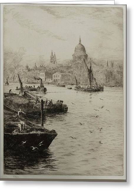 Barges On The South Bank Of The Thames Greeting Card