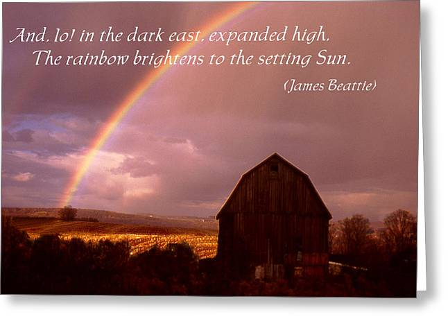 Barn And Rainbow Poster Greeting Card by Roger Soule