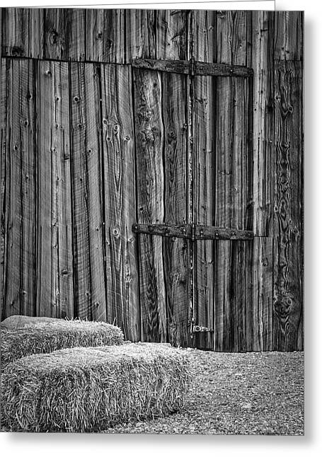 Barn Doors And Hay Greeting Card by Susan Candelario