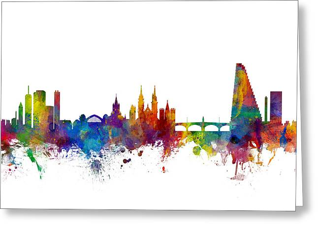 Basel Switzerland Skyline Greeting Card by Michael Tompsett