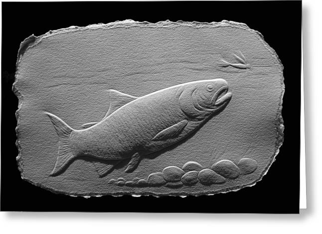 Greeting Card featuring the relief Bass Fish by Suhas Tavkar