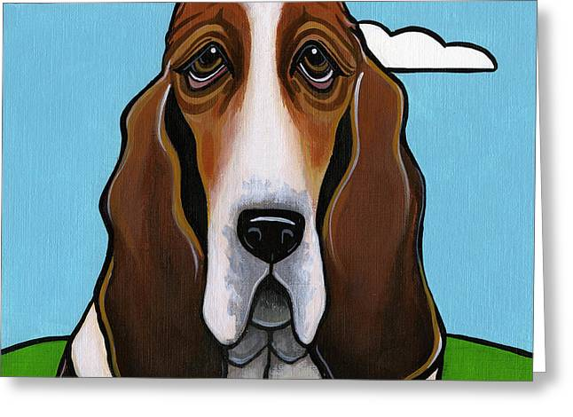 Basset Hound Greeting Card by Leanne Wilkes
