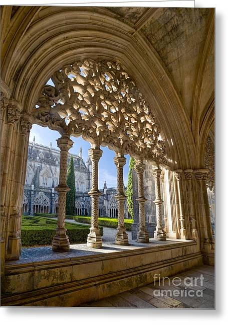 Batalha Gothic Tracery Greeting Card by Mikehoward Photography