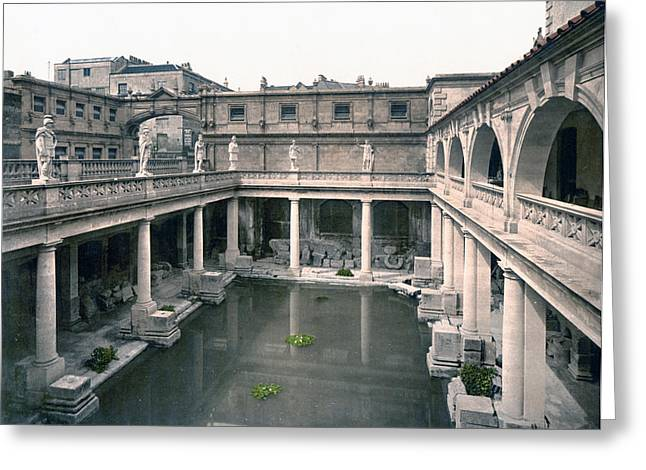 Bath - Somerset - England - Roman Baths And Abbey Greeting Card by International  Images