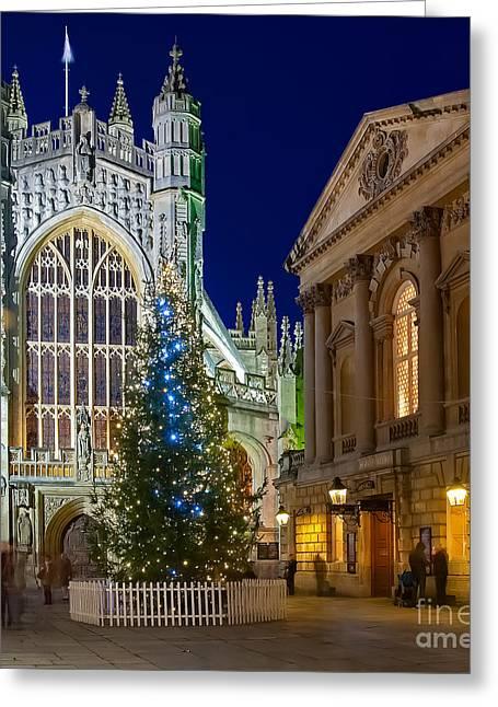 Bath Abbey At Night At Christmas Greeting Card