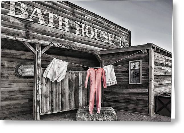 Bath House In Old Tucson Greeting Card by Wendy White