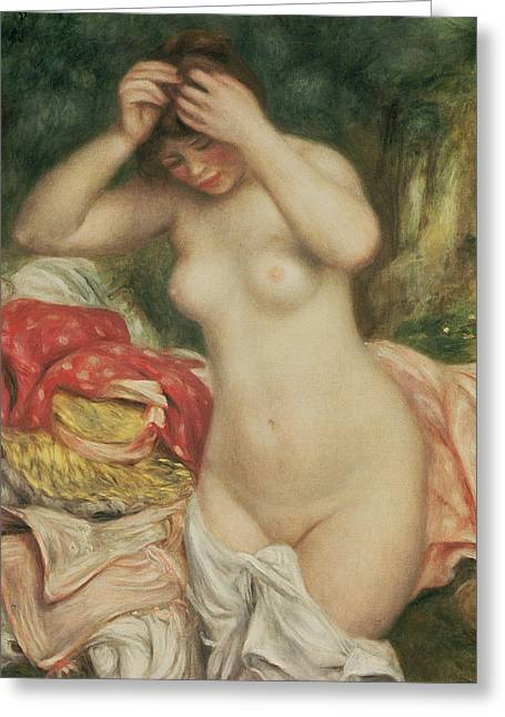 Odalisque Greeting Cards - Bather Arranging her Hair Greeting Card by Pierre Auguste Renoir